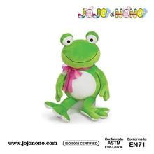 2015 high quality Custom plush valentine frog green color