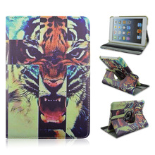 New Arrival Terrible Tiger Design Rotatable Folio Stand Leather Case For Apple iPad Mini 1/2/3 with Elastic Belt