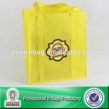 Lead Free Transfer Printed Recycle Custom Yellow Shopping Bag
