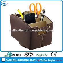 Leather Spinning Remote Control Caddy TV Media Organizer Mail Storage Holder