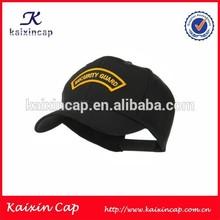 Gold 3D Embroidery Logo Design Baseball Cap Security Guard Cap