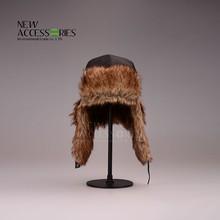 Womens popular balck earflap hats with fur manufacturer