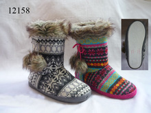 Children Toddlers Girls Boys Tall Winter Warm Colorful Knit Indoor Slipper Boots