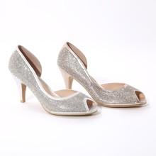 Shining high heel lady shoes peep toe design