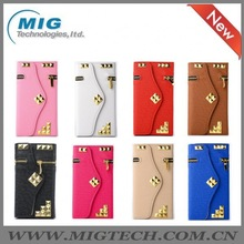 PU Leather wallet case for iphone 6 plus, Cell phone cover for Apple iphone 6 plus leather case with Zipper 8 colors