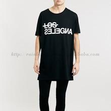 2015 Fashion Custom Print Logo Loose Longline T Shirt Men