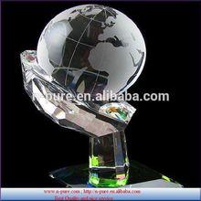 world map sandblast clear crystal globe ball