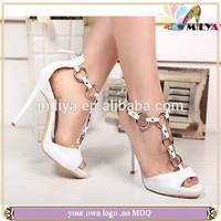 Miliya white leather metal o ring high heel sandal shoes fashion design design brand