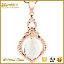 Jewelry Wholesale!!! 925 Silver Gold Plating Pendant with Big Natural Stones Opal Fine Necklace