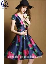Ladie's printed twill dress big V neck dress cap sleeve dress