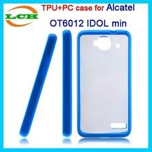 Double color design tpu bumper and PC plate combo case for alcatel 6012d