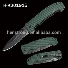 2015 Black coated stone washed stainless steel pocket knife folding