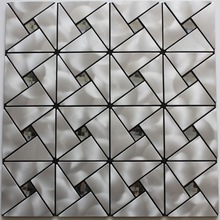 Brushed silver 13-facet mirror glass mix stainless steel mosaic tile