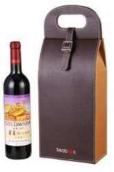 Single leather wine carrier bag, wine pounch