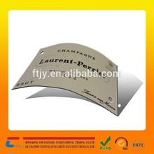 Factory wholesale price custom logo design sticking metal label for bottle