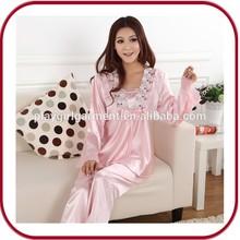 Pghw-1340 venta al por mayor del llano mujeres red satin pijamas
