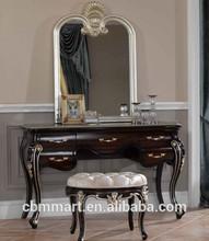 Black color antique Dresser with mirror hot selling bedroom furniture 0402-a4