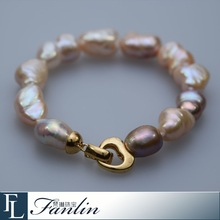 Natural baroque pearl bracelet with alloy magnetic clasp