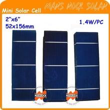 "1.4W 0.5V 52x156mm 2""x6"" A grade Polycrystalline small Solar Cells cut for mini solar panel"