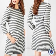2015 Classic Black And White Stripe Three Quarter Sleeve Mini Dress,Different Design Casual Dresses