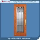 luxury steel door with glass insert wooden texture entry doors