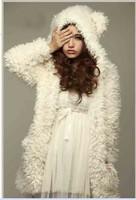 14851 New Fashion 2014 Autumn Winter Korean Style Women Coat Long Sleeve With Hood Cute Plush Coat