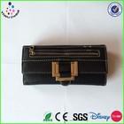 High Quality Soft Sheepskin Long Purse Leather Designer Ladies Branded Black Wallet