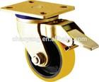 2015 good selling heavy duty caster swivel with brake 8 inch double bearing pu wheel