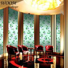 metallic decorative green leaf eco friendly digital printing wallpaper