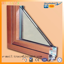 6063-T5 anodized surface Wood grain transfer American fashion hand window manufacturer