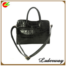 crocodile pu leather lady handbag with long shoulder strap