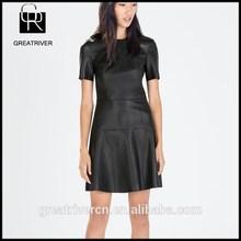 OEM 2014 fashion womens garment dyed sexy leather dresses fashion ladies leather dress