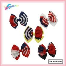 Eco-friendly handmade America nation flag ribbon bows hair clip for ladies