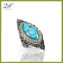 Daihe RN4681 Vintage style fashion full finger turquoise ring
