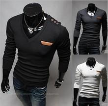 Z80493B 2015 fashion design cheap v-neck long sleeve man's T-SHIRT