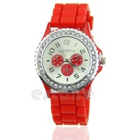 New Women Girl Lady Geneva Silicone Crystal Stone Watch Quartz Jelly Wrist Watch