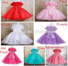 Wholesale Bow princess Dresses Spaghetti Strap Children Wedding Dresses for Girls 2015 Beaded flowers Girls Party Dresses