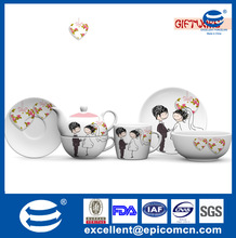 sweet happiness couple wedding design round porselen plates and dishes gift porcelain set for party