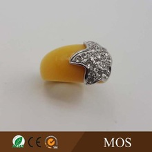 luck star Yellow semi precious stone ring silver alloy plating ring R-301-AL