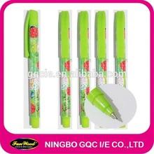 Green style Promotion gel pen,Cheap rubber cover pen