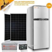 Household safe clean DC 12V 118L double door freezer solar power refrigerator