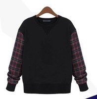 Autumn Hoodies Plaid Pattern Women Hoody 2015 Casual Pullover Crew Neck Long Sleeve Woman Clothes Sport wholesale crewneck sweat