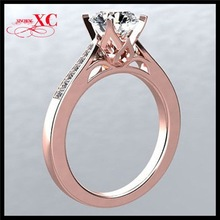 White Sapphire Rose Gold Plated Copper Modern Women Wedding Engagement Rings