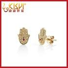 14k gold jewelry palm-shaped diamond stud earrings,Women jewelry wholesale