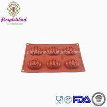 FDA/LFGB 6 cavity mini pumpkin baking pan silicone mould/halloween mould