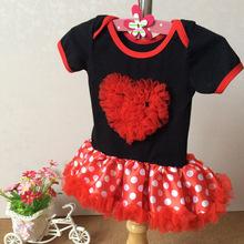 European and American trade Kids Baby Romper jumpsuit red and white dot print cotton dress tutu Ruansha