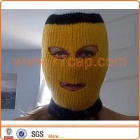 Personalized yellow ski mask hat knitting pattern