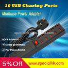 Promotional Universal Multi-purpose 10 Port USB Charger with UK US EU Plug