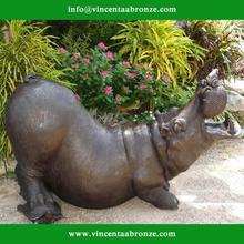 Hot sale China brand wholesale bronze hippo garden ornament