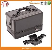 All Black Aluminum 3-Tier Cosmetic Train Case Makeup Organizer Box
